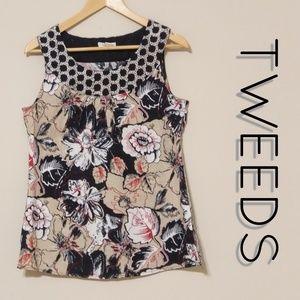Tweeds   Floral Linen Blend Tunic Top EUC